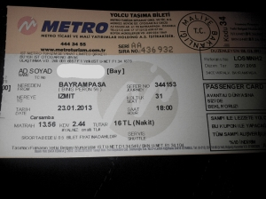 Metro bus ticket